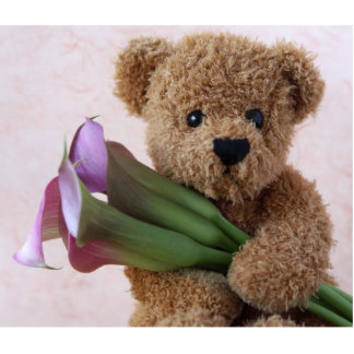 bear with calla lilies small photo sculpture