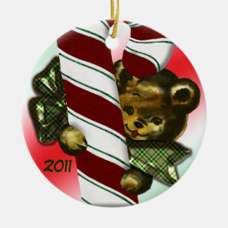 Bear with candycane 2011 Double-Sided ceramic round christmas ornament