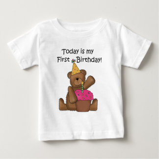 Bear with Cupcake 1st Birthday Tshirts and Gifts