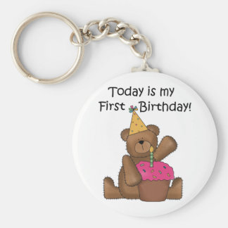 Bear with Cupcake 1st Birthday Tshirts and Gifts Basic Round Button Keychain