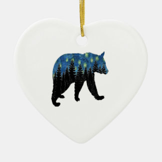 bear with fireflies ceramic ornament