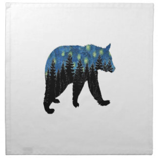 bear with fireflies cloth napkin