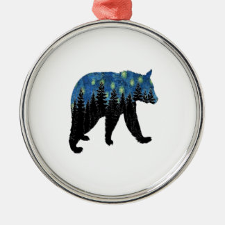 bear with fireflies metal ornament