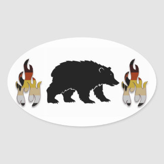 Bear with Flames Stickers