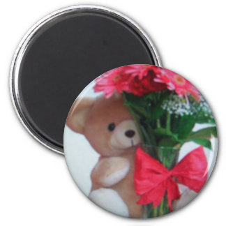 bear With flowers 2 Inch Round Magnet