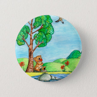 Bear with Flowers Button