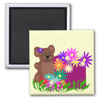 Bear with flowers in cup magnet