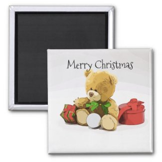 Bear with golf ball and gifts Christmas Magnet