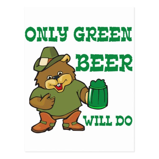 Bear with green beer for saint patricks day post cards