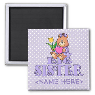 Bear with Heart Big Sister 2 Inch Square Magnet