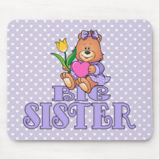 Bear with Heart Big Sister Mouse Pad