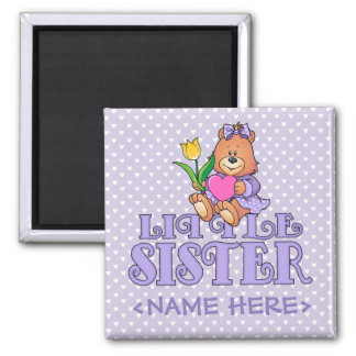 Bear with Heart Little Sister 2 Inch Square Magnet