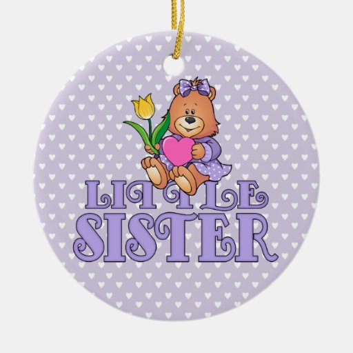 Bear with Heart Little Sister Ornaments