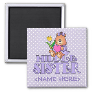 Bear with Heart Middle Sister 2 Inch Square Magnet
