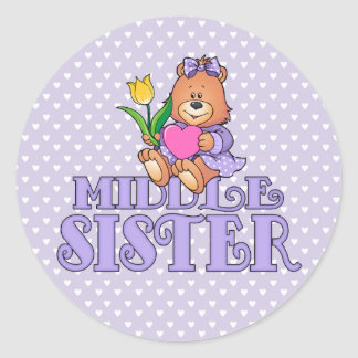 Bear with Heart Middle Sister Classic Round Sticker