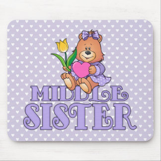 Bear with Heart Middle Sister Mouse Pads