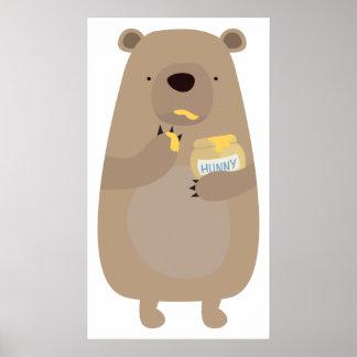 Bear with Honey jar Print
