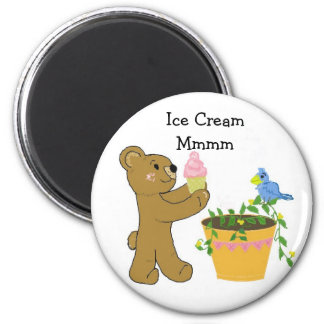 Bear With Ice Cream Cone Magnet