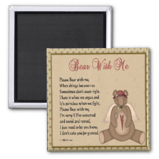 Bear with me 2 inch square magnet