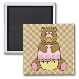 Bear With Pink Cupcake Vanilla Plaid Magnet
