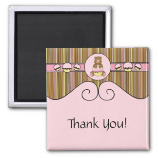 Bear With Pink Cupcake Vertical Stripes Magnet