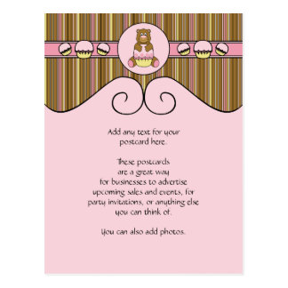 Bear With Pink Cupcake Vertical Stripes Postcard