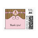 Bear With Pink Cupcake Vertical Stripes Stamps