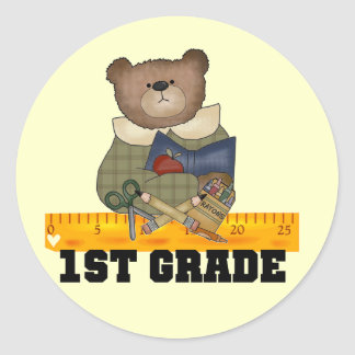 Bear with Ruler 1st Grade Tshirts and Gifts Classic Round Sticker