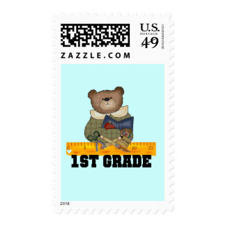 Bear with Ruler 1st Grade Tshirts and Gifts Postage Stamp