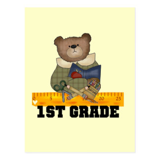 Bear with Ruler 1st Grade Tshirts and Gifts Postcard