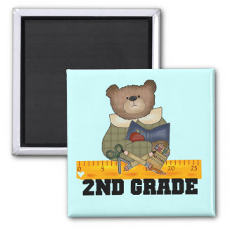 Bear with Ruler 2nd Grade Tshirts and Gifts 2 Inch Square Magnet