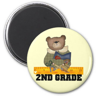 Bear with Ruler 2nd Grade Tshirts and Gifts 2 Inch Round Magnet