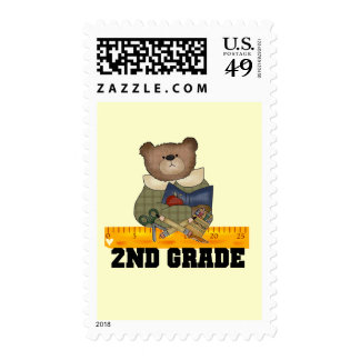 Bear with Ruler 2nd Grade Tshirts and Gifts Postage Stamps