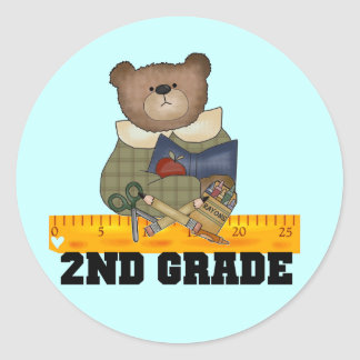 Bear with Ruler 2nd Grade Tshirts and Gifts Classic Round Sticker