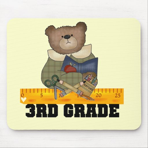 Bear With Ruler 3rd Grade Tshirts and Gifts Mouse Pad