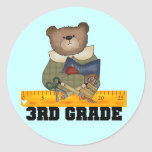 Bear With Ruler 3rd Grade Tshirts and Gifts Round Sticker