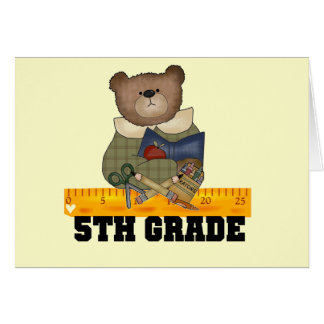 Bear with Ruler 5th Grade Tshirts and Gifts Card