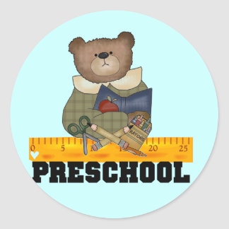 Bear with Ruler Preschool Tshirts and Gifts Classic Round Sticker