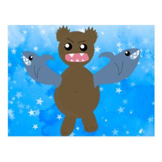 Bear With Sharks For Arms Postcard