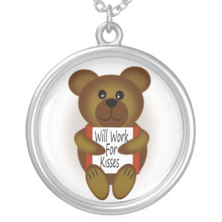 Bear with Sign Silver Plated Necklace