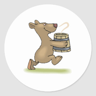 Bear With Soup Classic Round Sticker