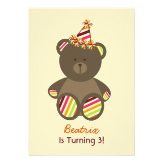 Bear With Striped Birthday Hat Girl s Party Invitation
