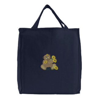Bear with sunflowers embroidered tote bag