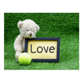 Bear with tennis ball with love postcard