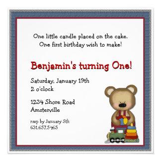 Bear with Train Invitation