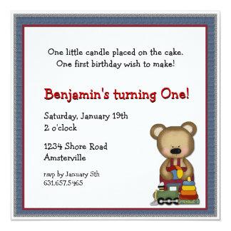 """Bear with Train Invitation 5.25"""" Square Invitation Card"""