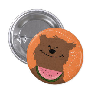 Bear with watermelon pinback button