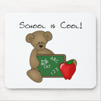 Bear with Writing Board School is Cool Mouse Pad