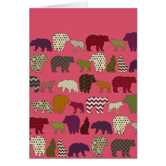 bear wolf geo party pink card