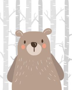 Bear Woodland Animal Nursery Wall Art Print